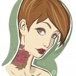 New Digital Illustration – Cute Girl with Tattoos and a Pixie Cut