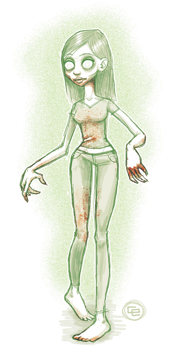 Gnarly Zombie Girl Sketch